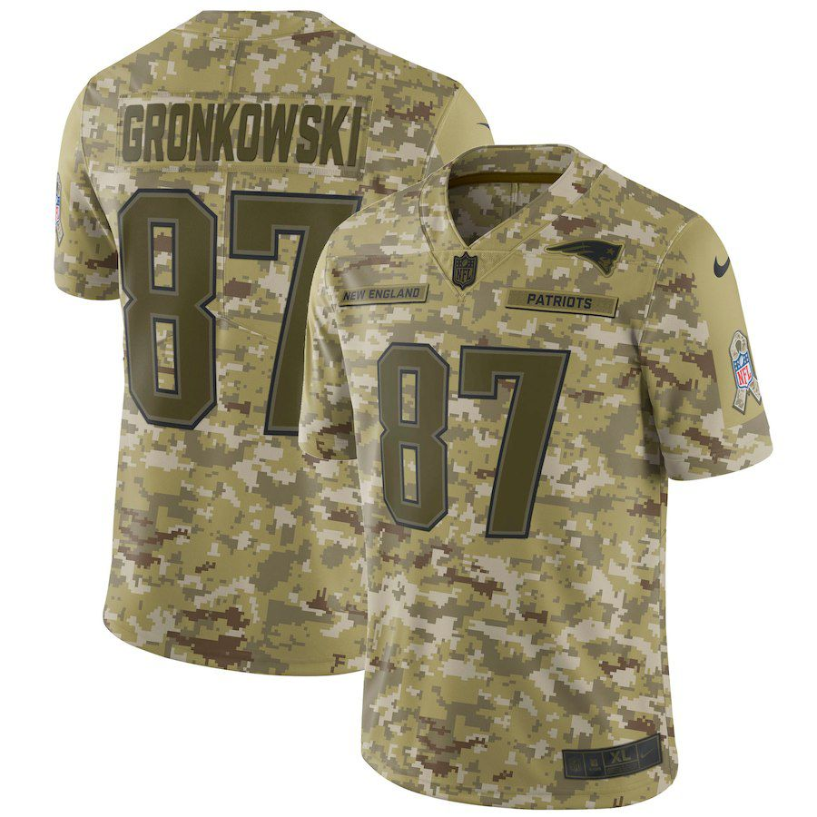 Men New England Patriots 87 Gronkowski Nike Camo Salute to Service Retired Player Limited NFL Jerseys