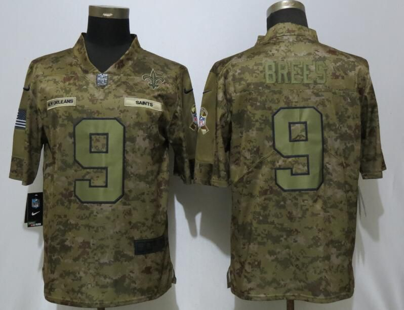 Men New Orleans Saints 9 Brees Nike Camo Salute to Service Limited NFL Jerseys