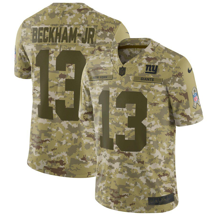 Men New York Giants 13 Beckham jr Nike Camo Salute to Service Retired Player Limited NFL Jerseys