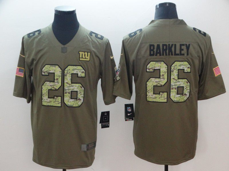 Men New York Giants 26 Barkley Olive Camo Carson Nike Salute to Service Player NFL Jerseys
