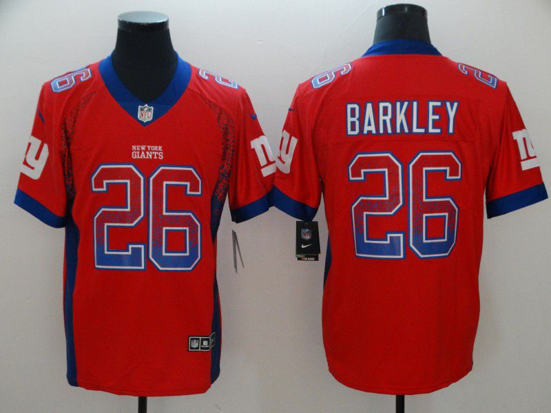 Men New York Giants 26 Barkley Red Nike Drift Fashion Color Rush Limited NFL Jerseys