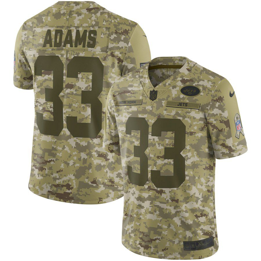 Men New York Jets 33 Adams Nike Camo Salute to Service Retired Player Limited NFL Jerseys