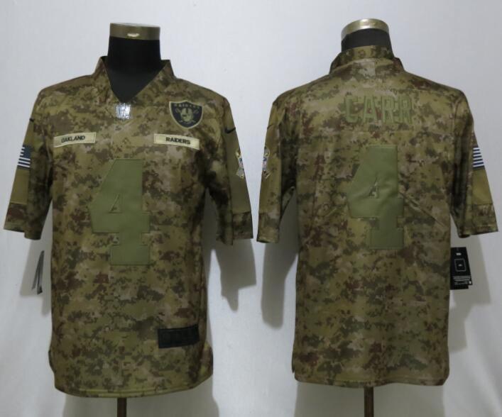 e3067aeb1dd Men Oakland Raiders 4 Carr Nike Camo Salute to Service Limited NFL Jerseys