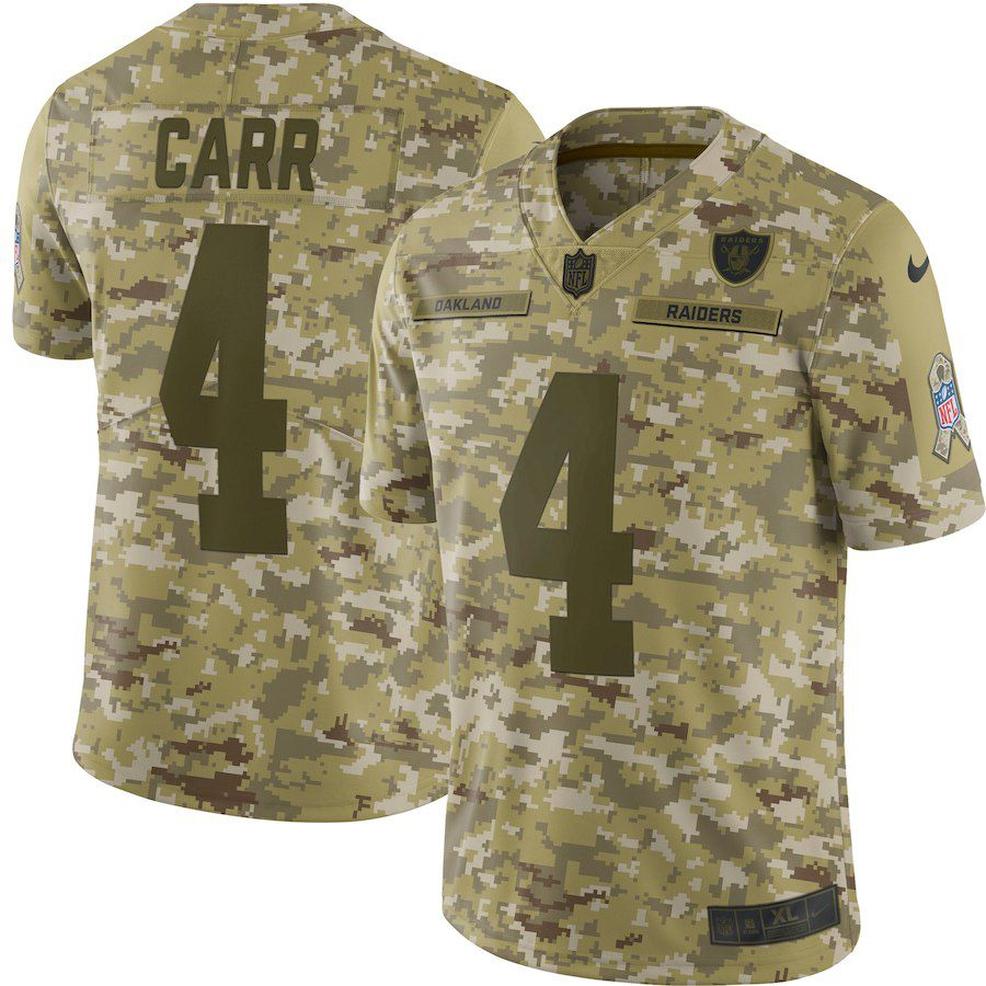 71cefbe46 Men Okaland Raiders 4 Carr Nike Camo Salute to Service Retired Player Limited  NFL Jerseys