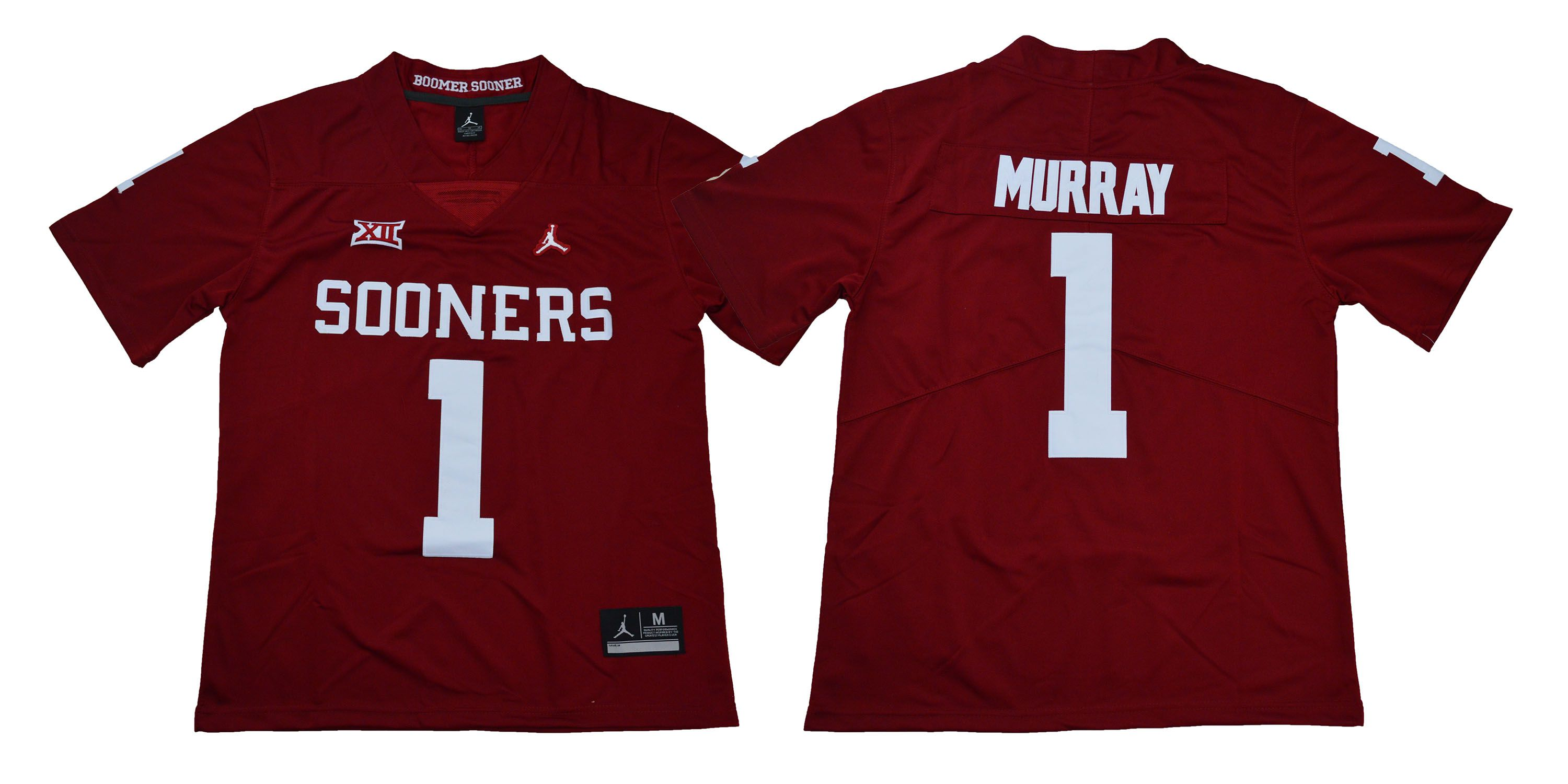 Men Oklahoma Sooners 1 Murray Red NCAA Jerseys