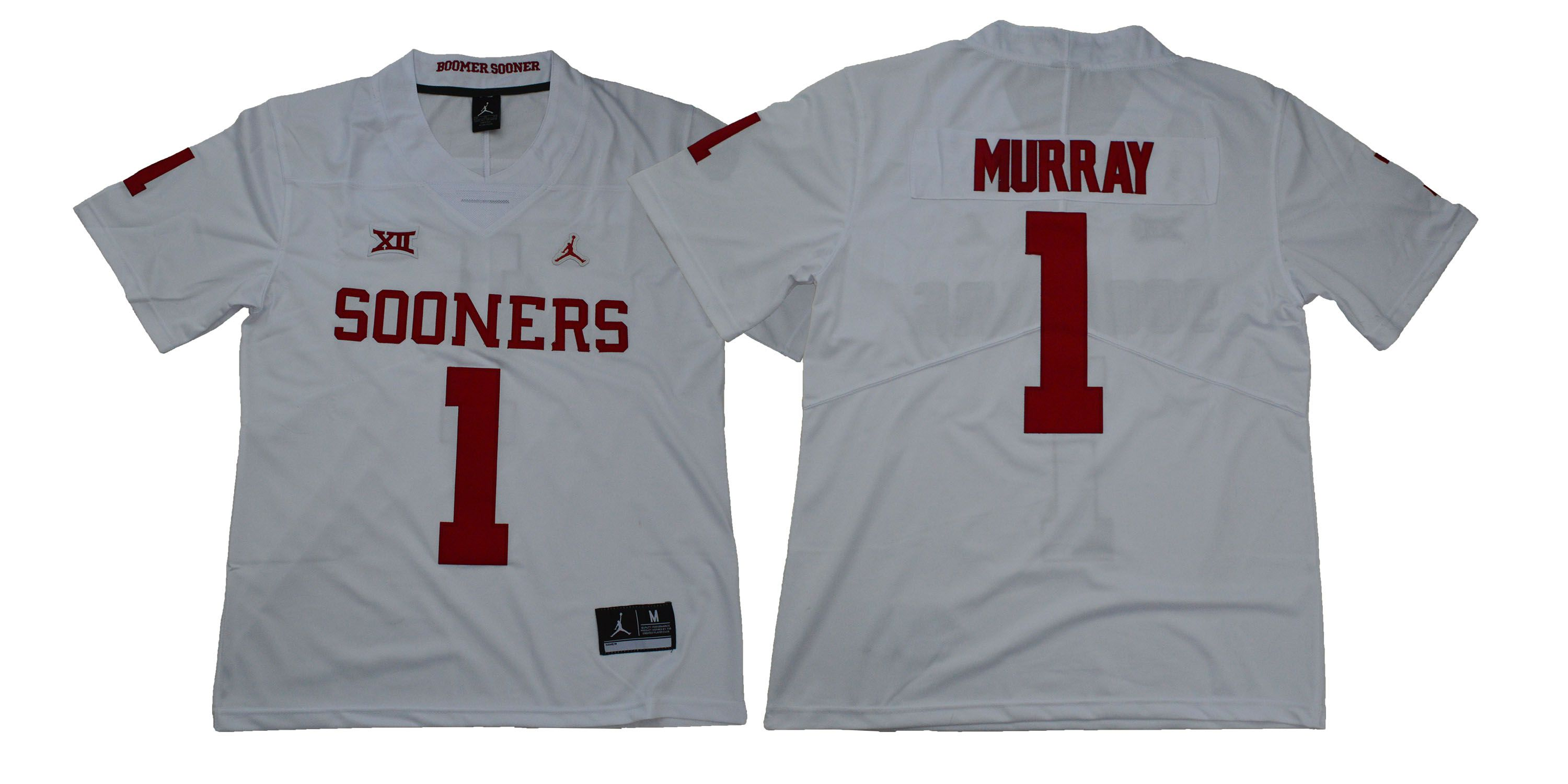 Men Oklahoma Sooners 1 Murray White NCAA Jerseys
