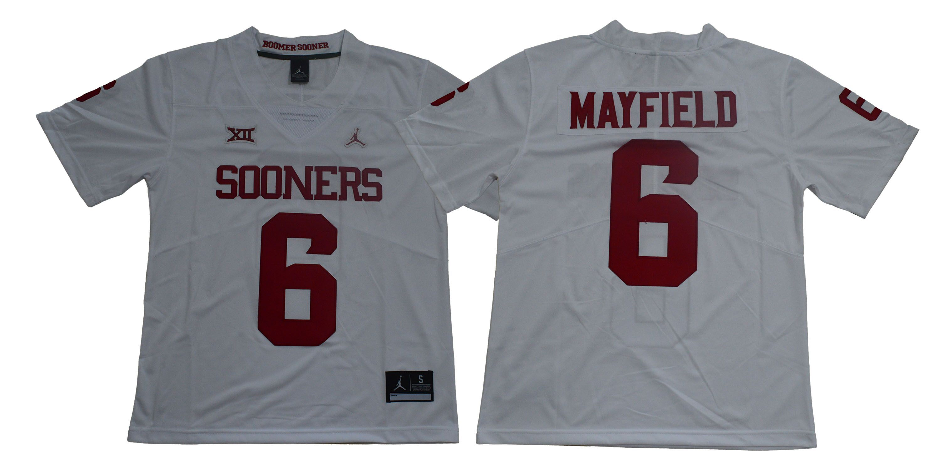 online store 70c55 7cc81 Men Oklahoma Sooners 6 Mayfield White NCAA Jerseys