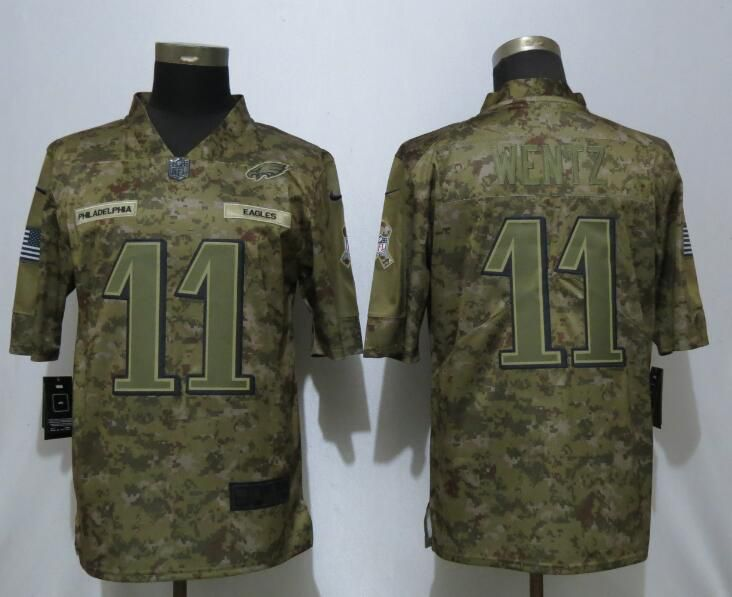 Men Philadelphia Eagles 11 Wentz Nike Camo Salute to Service Limited NFL Jerseys