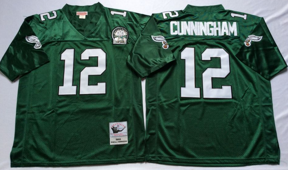 Men Philadelphia Eagles 12 CUNNINGHAM green Mitchell Ness jerseys