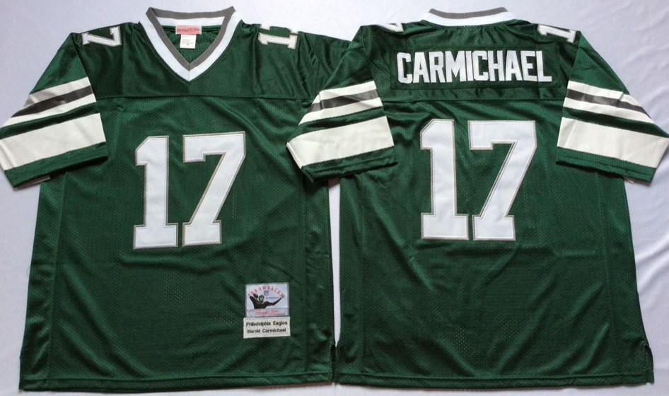 Men Philadelphia Eagles 17 Carmichael green Mitchell Ness jerseys