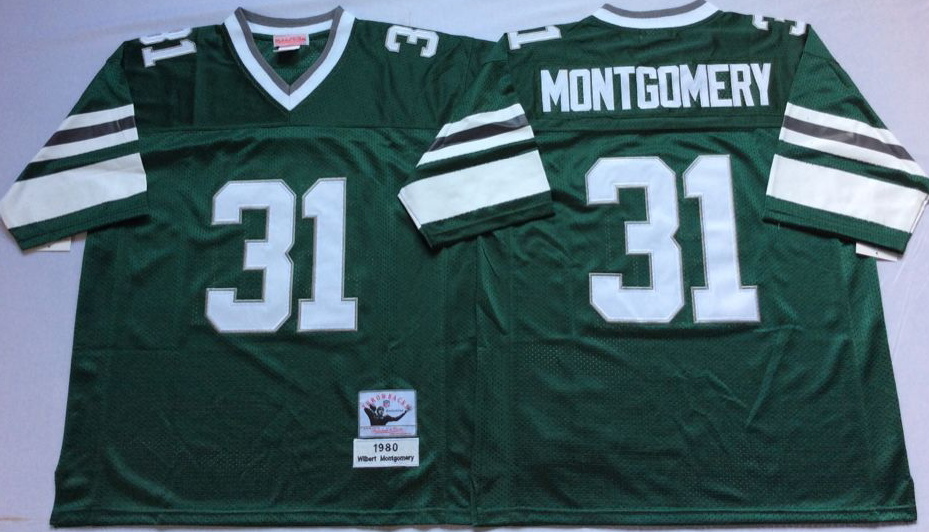 Men Philadelphia Eagles 31 Montgomery green Mitchell Ness jerseys