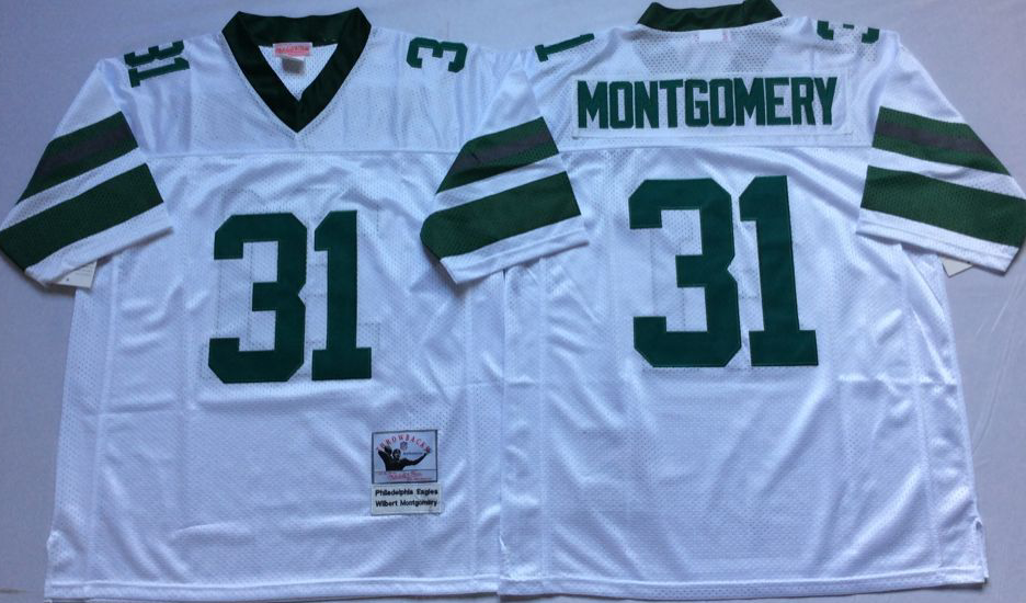 Men Philadelphia Eagles 31 Montgomery white Mitchell Ness jerseys