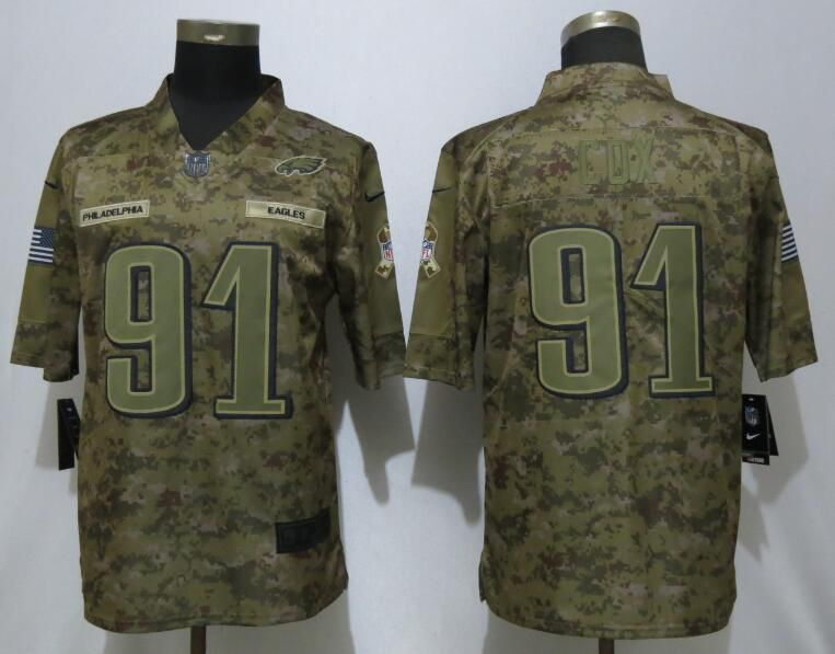 Men Philadelphia Eagles 91 Cox Nike Camo Salute to Service Limited NFL Jerseys