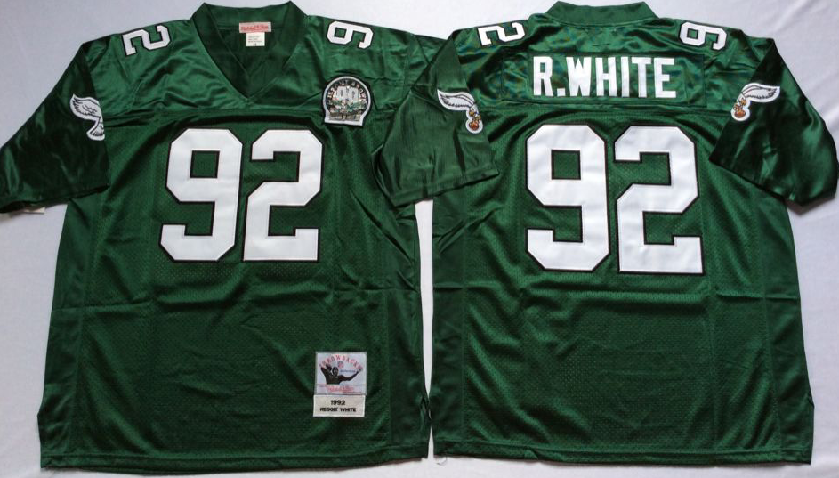 Men Philadelphia Eagles 92 R White green Mitchell Ness jerseys