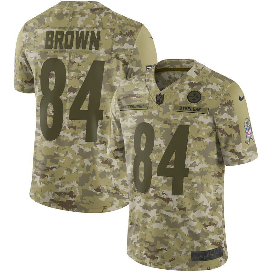 Men Pittsburgh Steelers 84 Brown Nike Camo Salute to Service Retired Player Limited NFL Jerseys