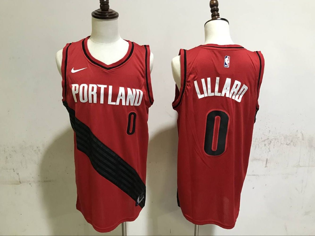 Men Portland Trail Blazers 0 Lillard Red Game Nike NBA Jerseys
