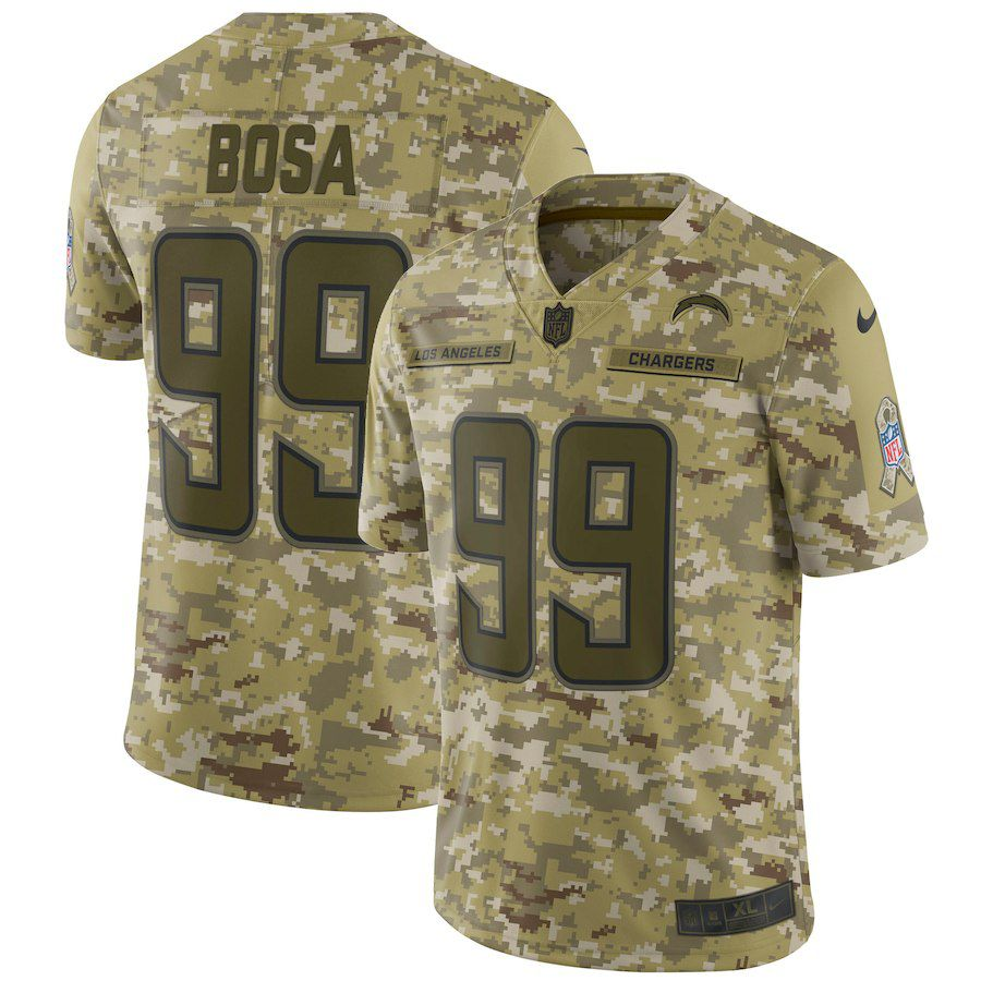 Men Los Angeles Chargers 99 Bosa Nike Camo Salute to Service Retired Player Limited NFL Jerseys