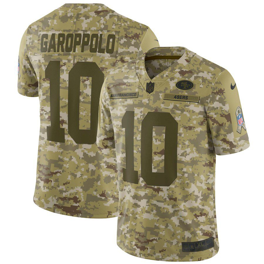 Men San Francisco 49ers 10 Garoppolo Nike Camo Salute to Service Retired Player Limited NFL Jerseys