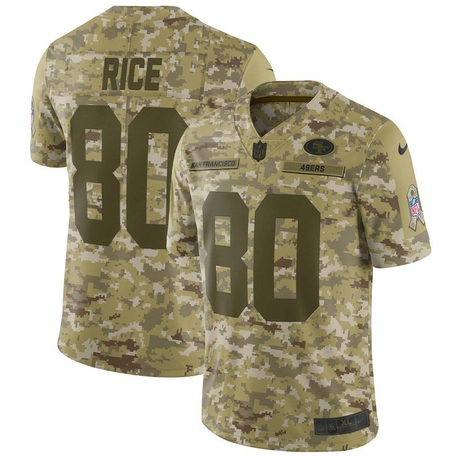 Men San Francisco 49ers 80 Rice Nike Camo Salute to Service Retired Player Limited NFL Jerseys
