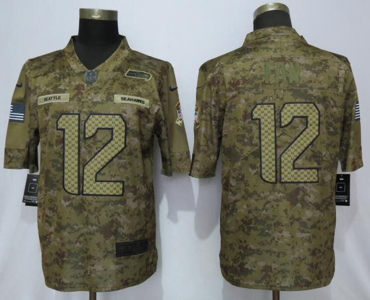 Men Seattle Seahawks 12 Fan Nike Camo Salute to Service Limited NFL Jerseys