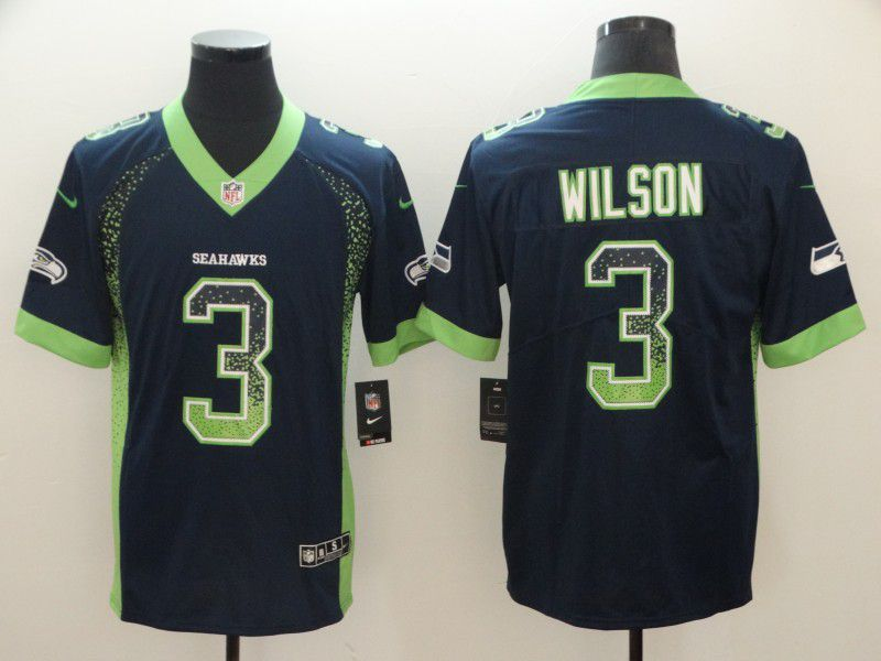 Men Seattle Seahawks 3 Wilson Blue Nike Drift Fashion Color Rush Limited NFL Jerseys
