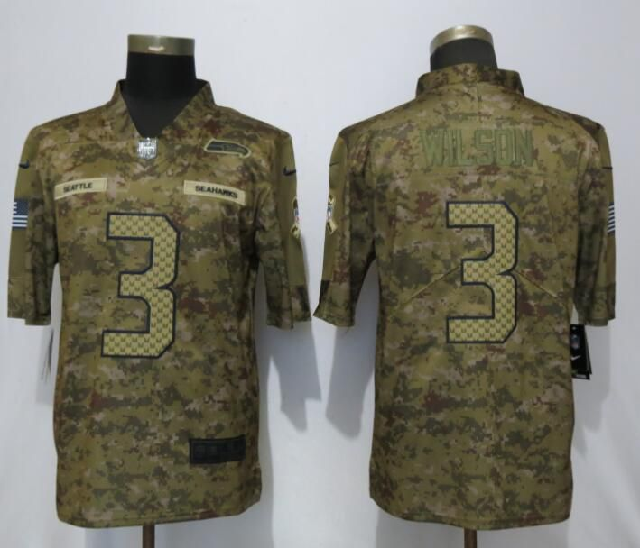 Men Seattle Seahawks 3 Wilson Nike Camo Salute to Service Limited NFL Jerseys