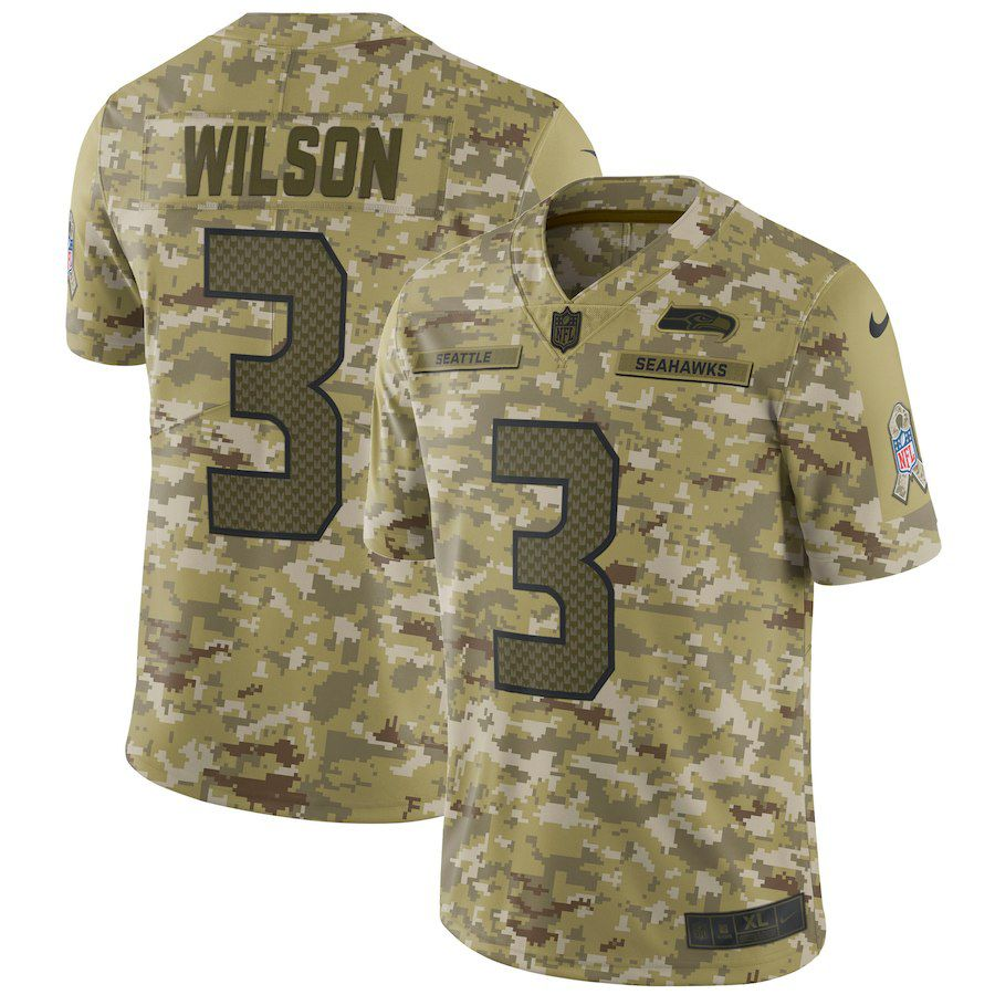 Men Seattle Seahawks 3 Wilson Nike Camo Salute to Service Retired Player Limited NFL Jerseys