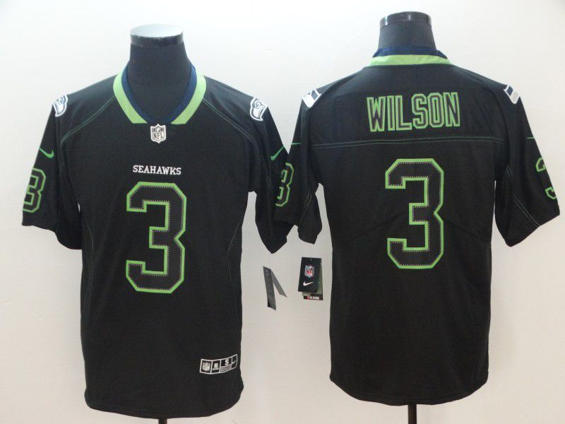 Men Seattle Seahawks 3 Wilson Nike Lights Out Black Color Rush Limited NFL Jerseys