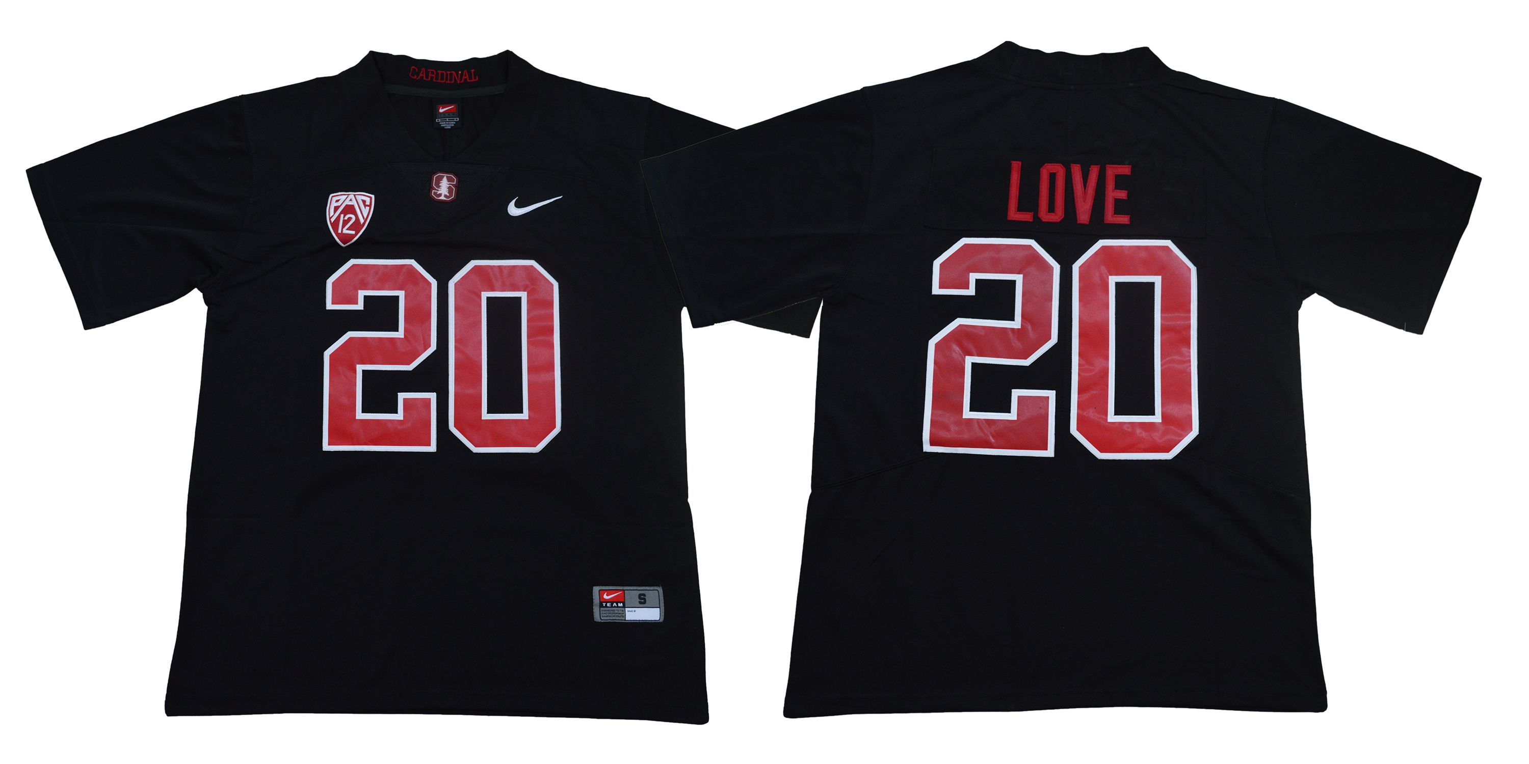 Men Stanford Cardinals 20 Love Black Nike NCAA Jerseys