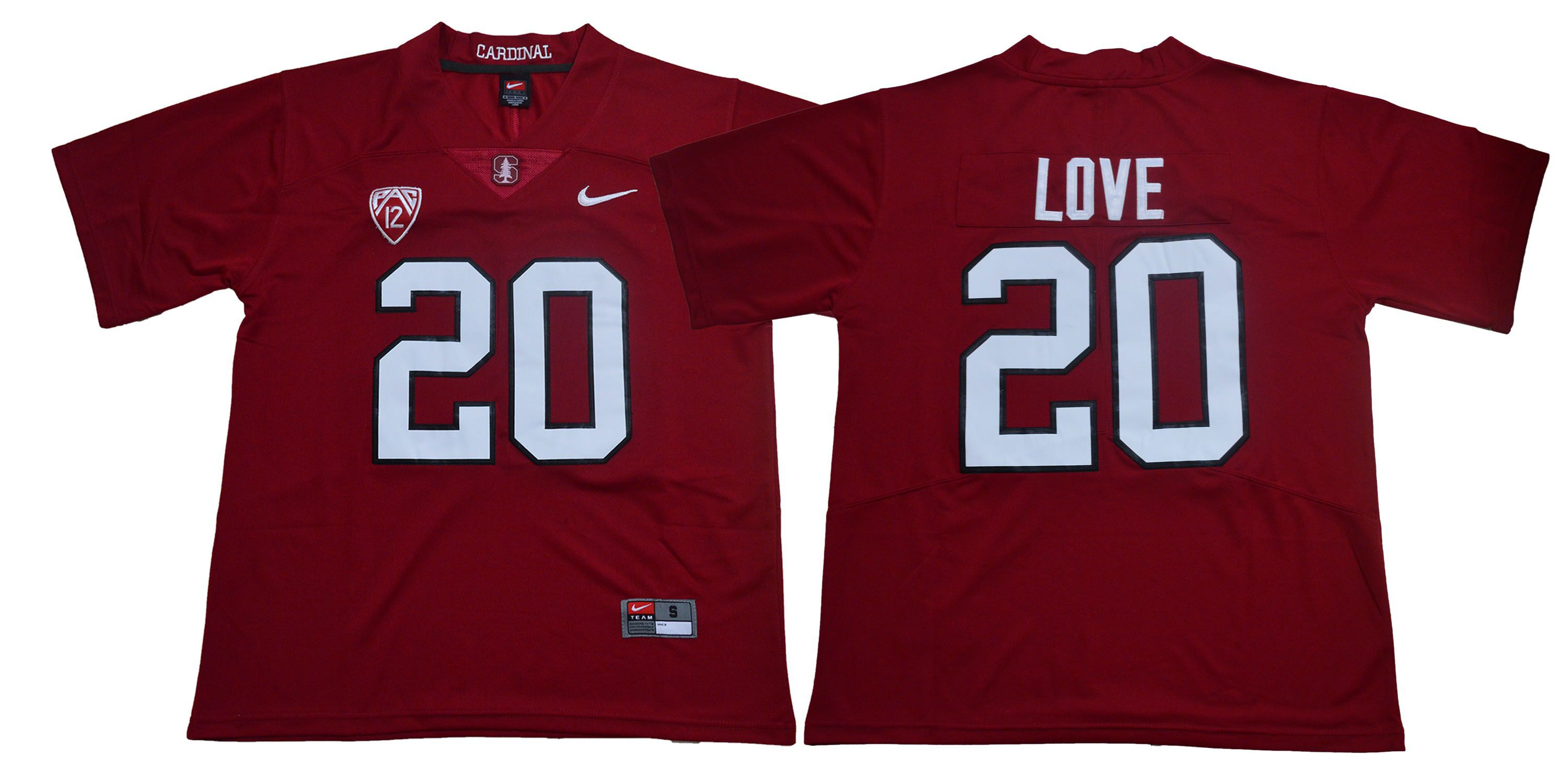 Men Stanford Cardinals 20 Love Red Nike NCAA Jerseys