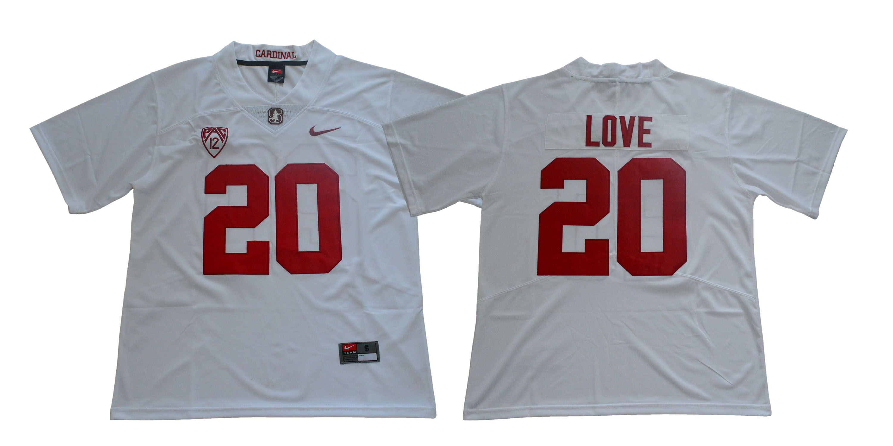 Men Stanford Cardinals 20 Love White Nike NCAA Jerseys