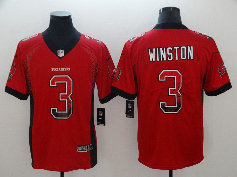 Men Tampa Bay Buccaneers 3 Winston Red Nike Drift Fashion Color Rush Limited NFL Jerseys
