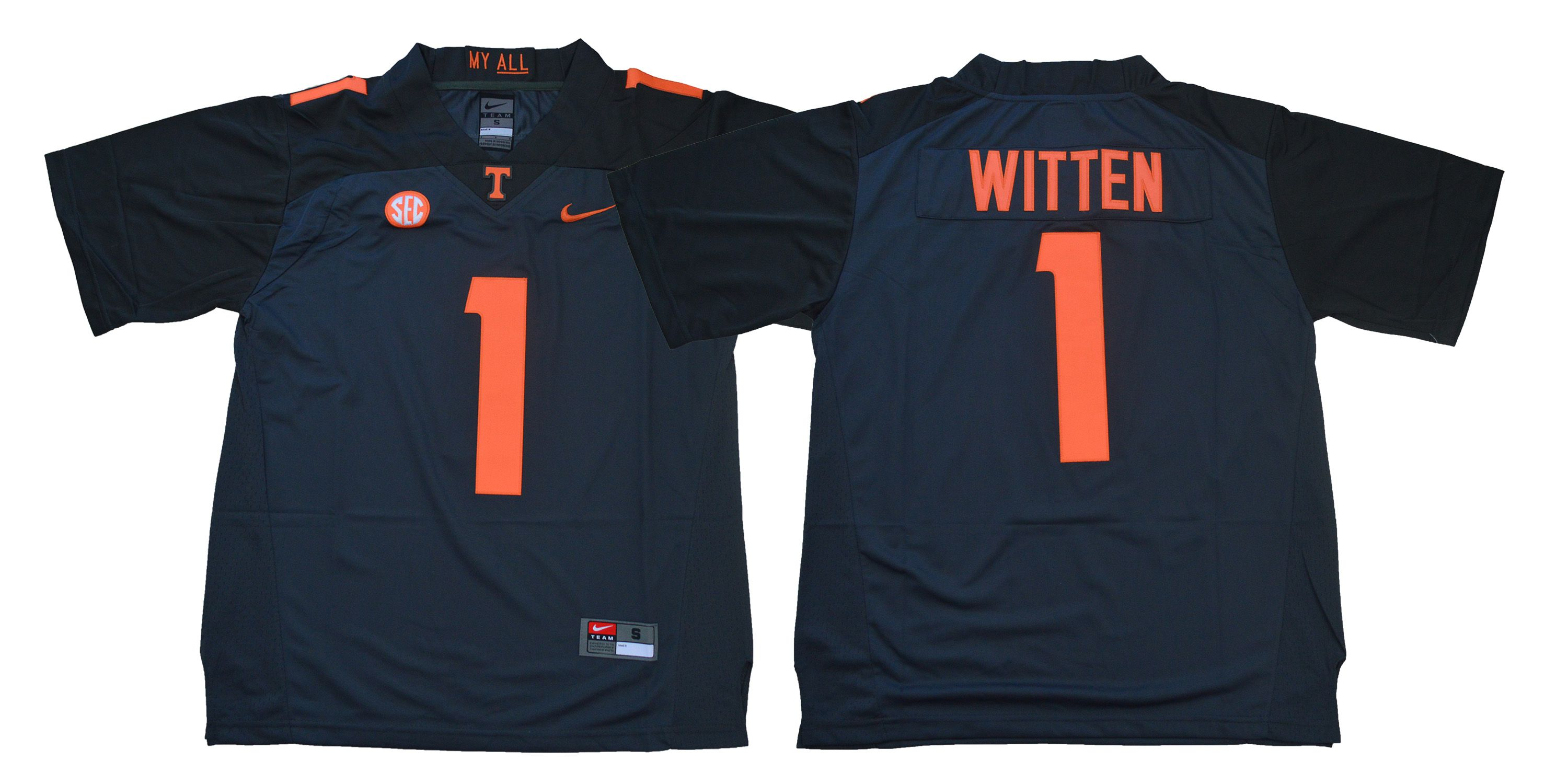 Men Tennessee Volunteers 1 Witten Blue Nike NCAA Jerseys
