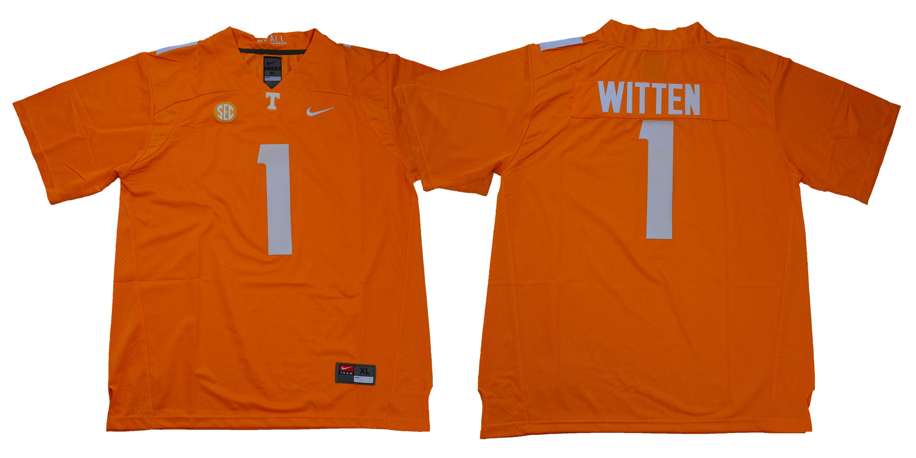 Men Tennessee Volunteers 1 Witten Orange Nike NCAA Jerseys