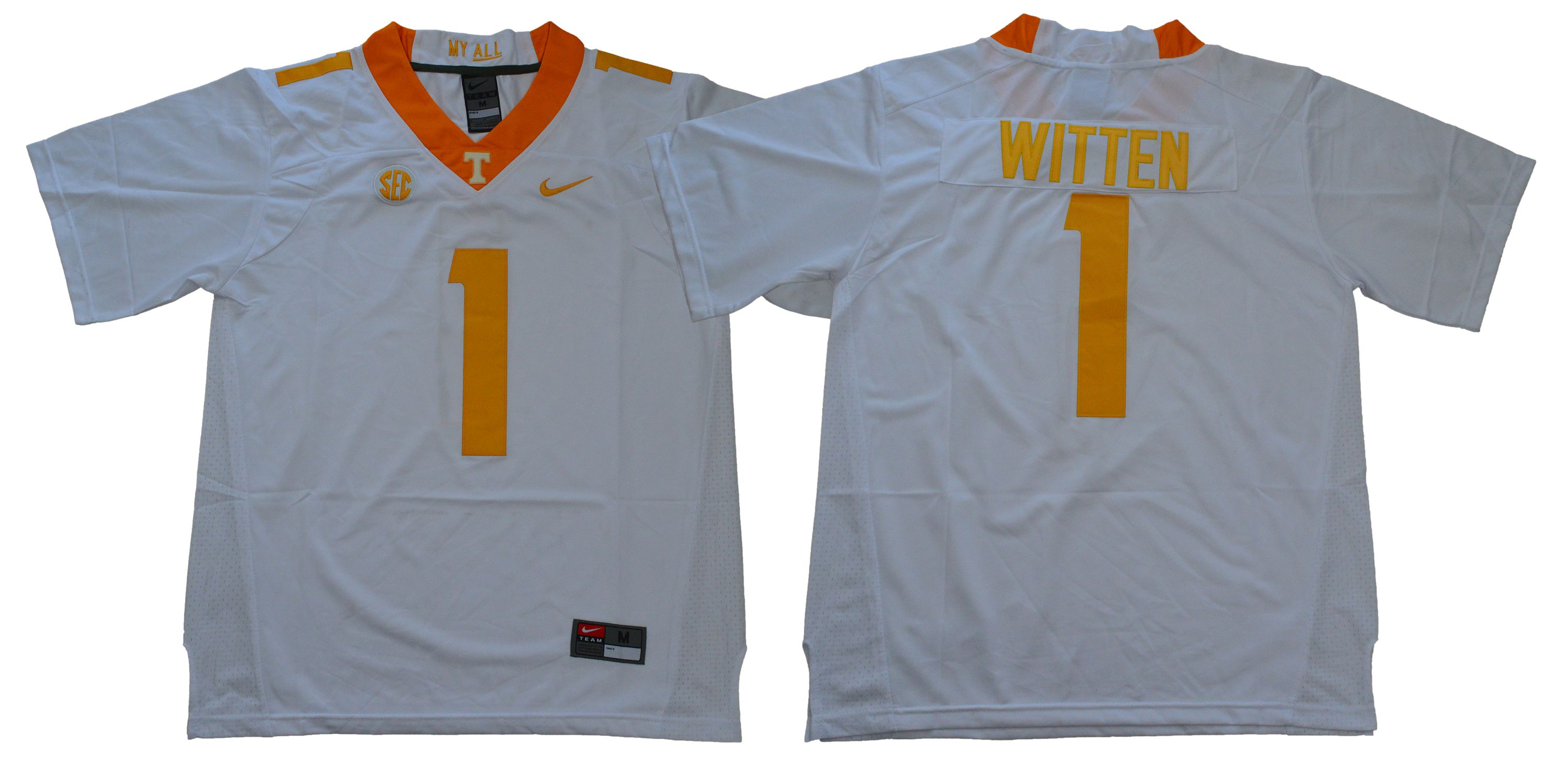 Men Tennessee Volunteers 1 Witten White Nike NCAA Jerseys