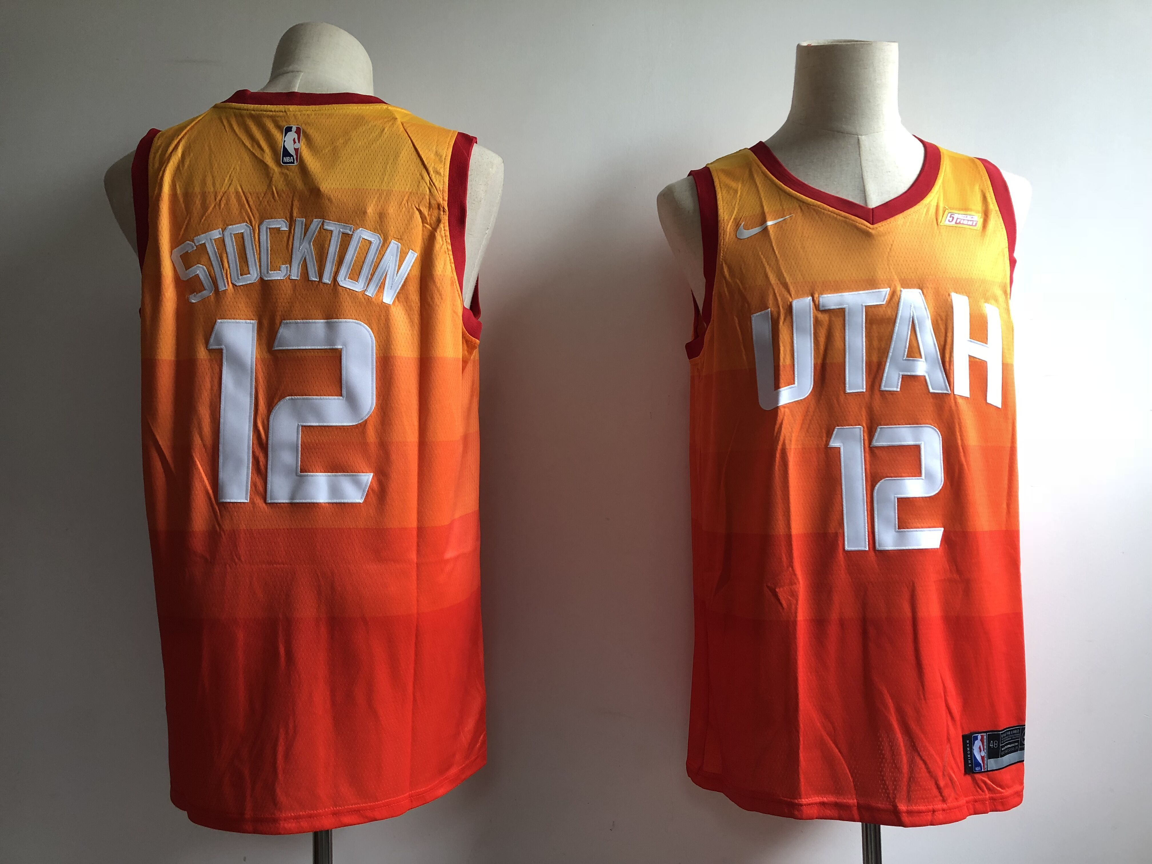 Men Utah Jazz 12 Stockton Orange City Edition Game Nike NBA Jerseys