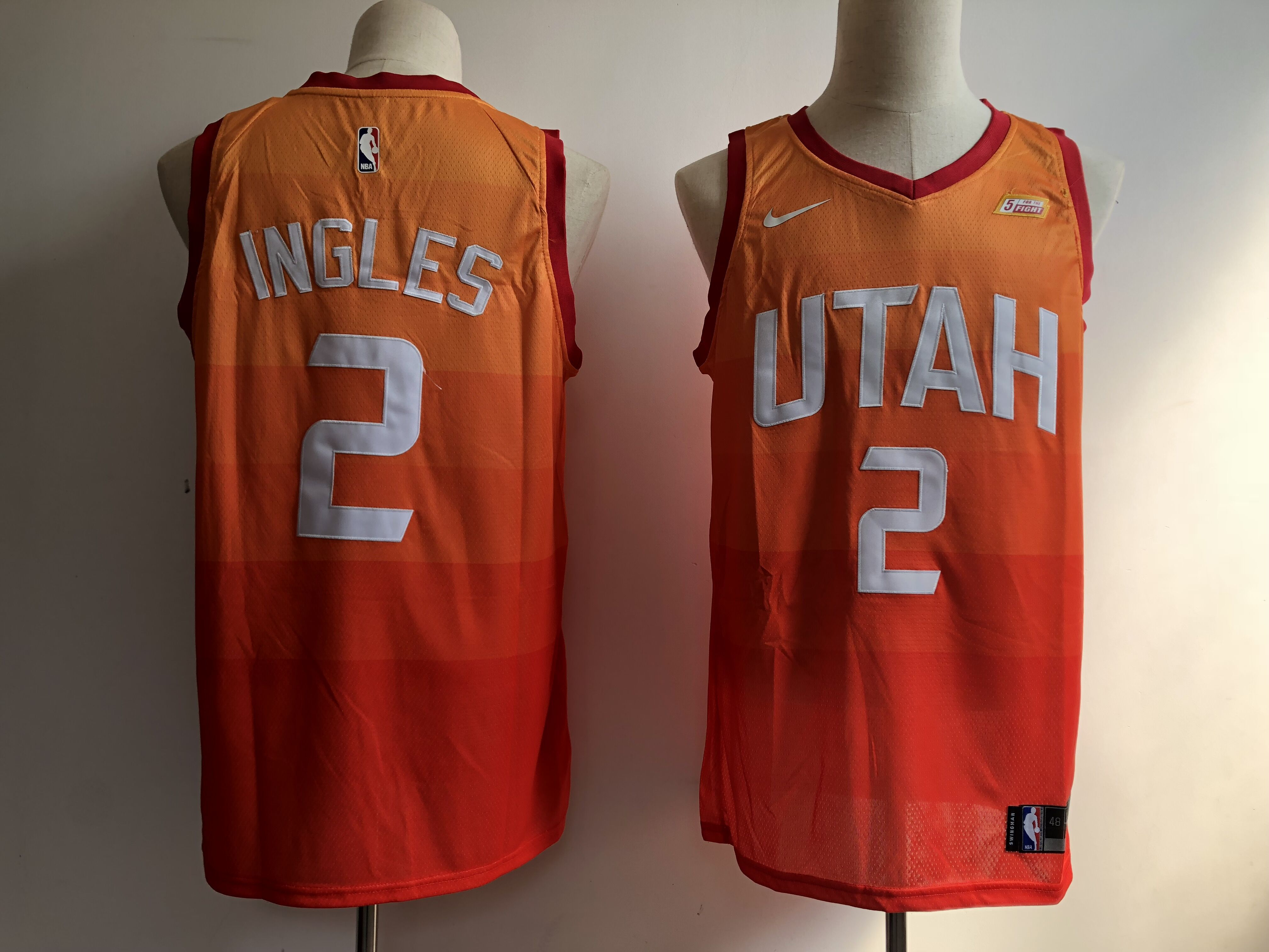 Men Utah Jazz 2 Ingles Orange City Edition Game Nike NBA Jerseys