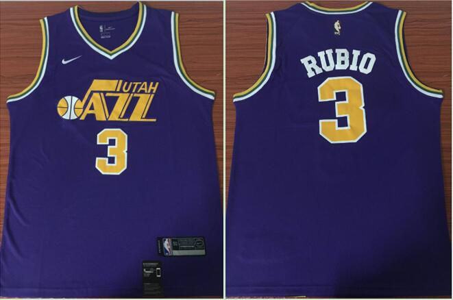 Men Utah Jazz 3 Rubio Purple Game Nike NBA Jerseys