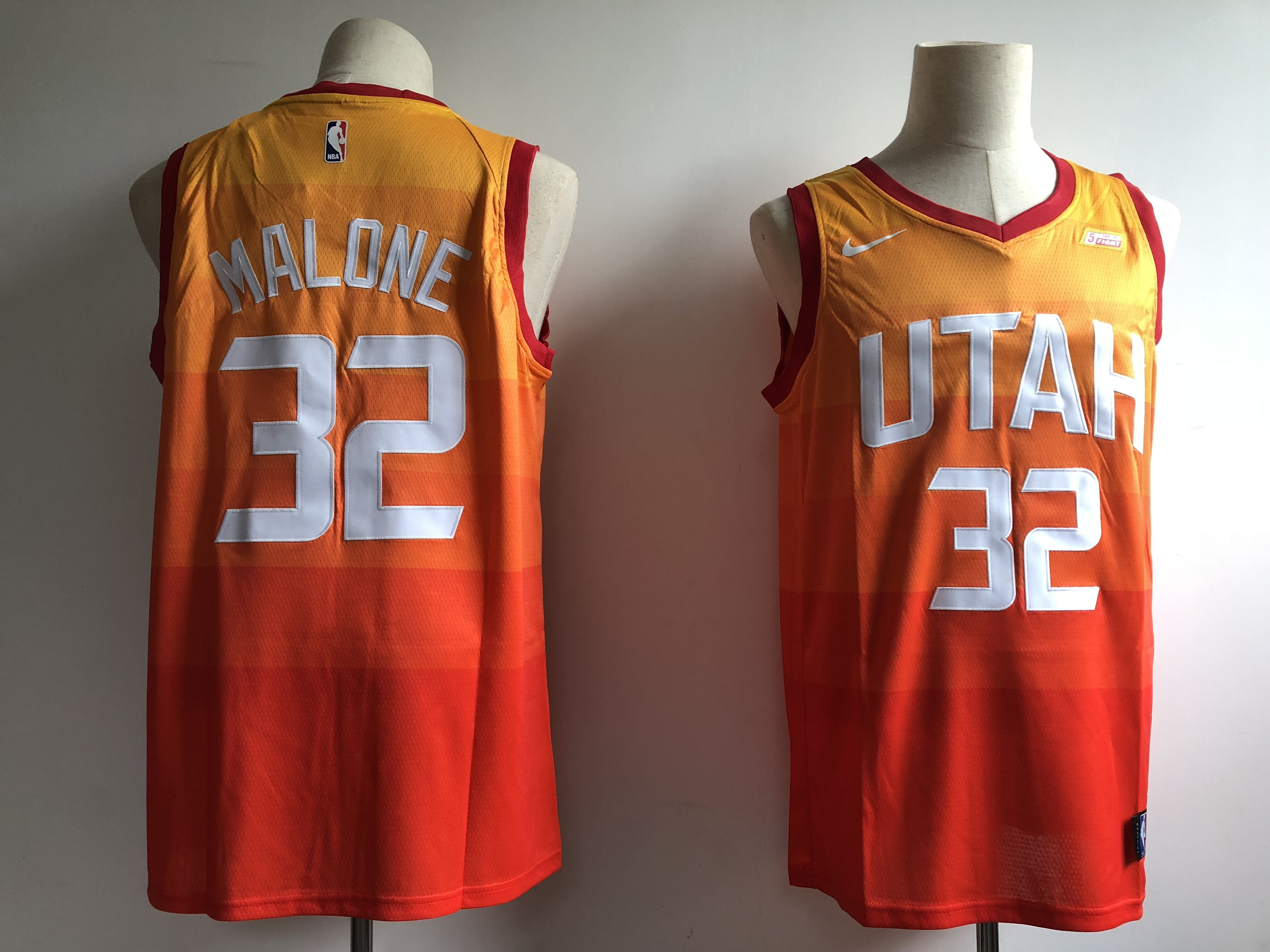 Men Utah Jazz 32 Malone Orange City Edition Game Nike NBA Jerseys
