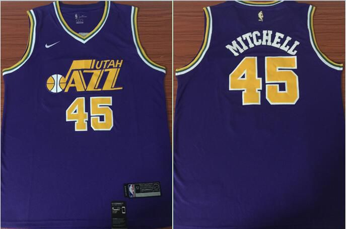 Men Utah Jazz 45 Mitchell Purple Game Nike NBA Jerseys