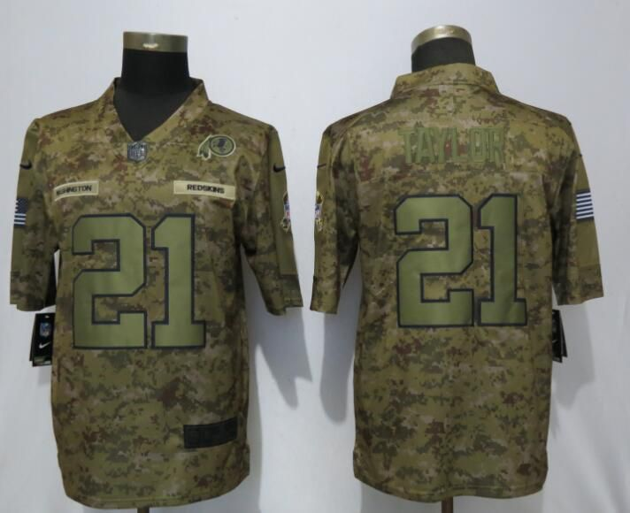 Men Washington Red Skins 21 Taylor Nike Camo Salute to Service Limited NFL Jerseys