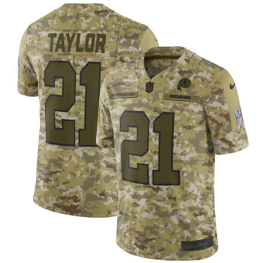Men Washington Red Skins 21 Taylor Nike Camo Salute to Service Retired Player Limited NFL Jerseys