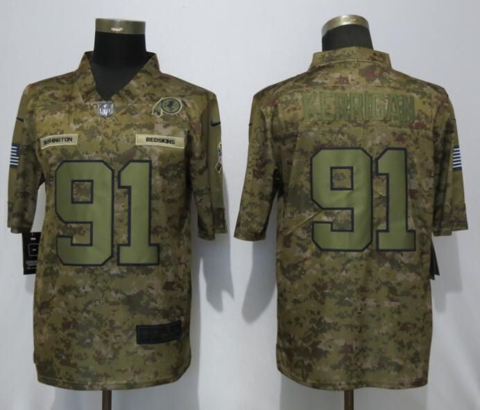 Men Washington Red Skins 91 Kerrigan Nike Camo Salute to Service Limited NFL Jerseys