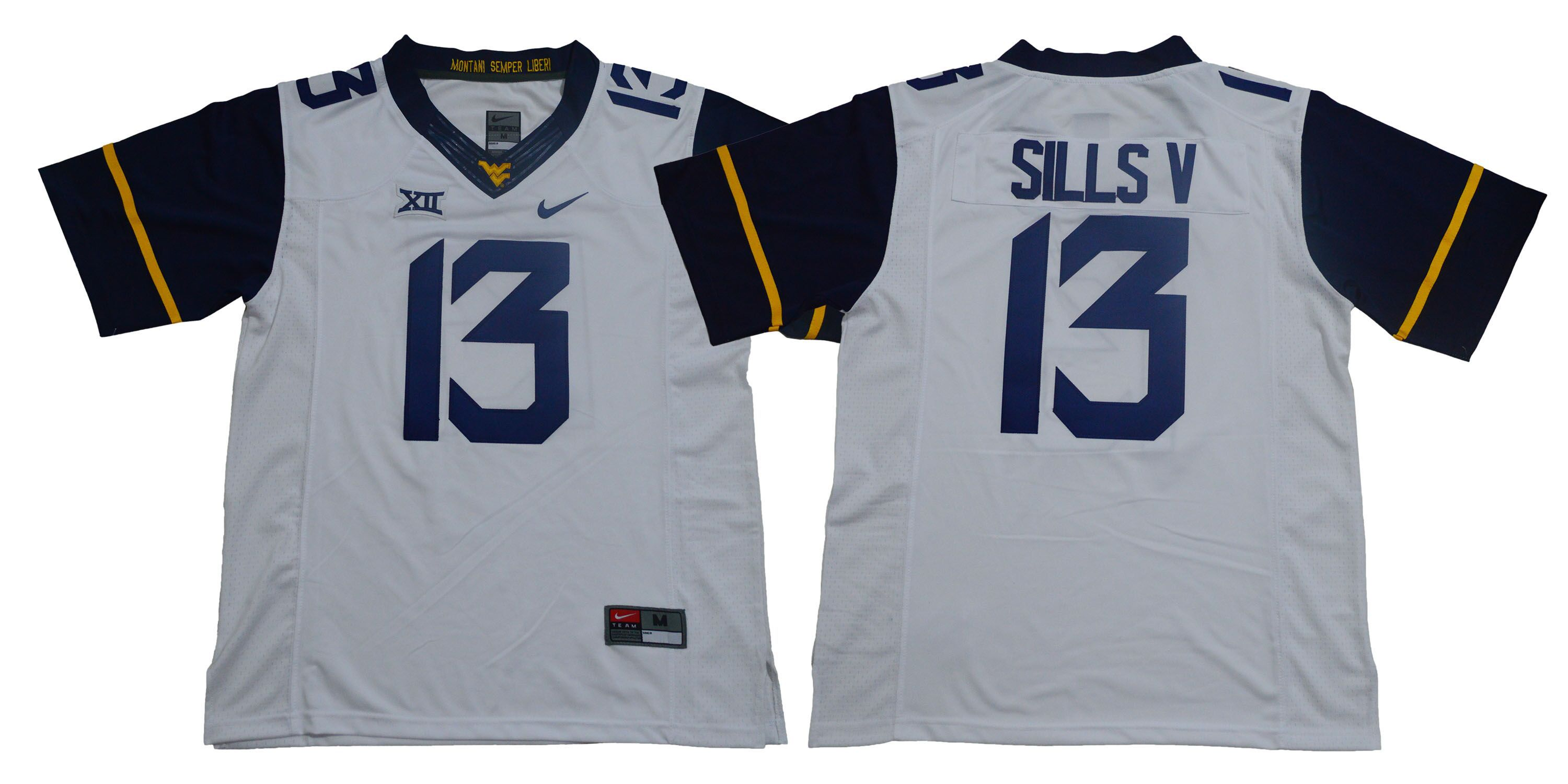 Men West Virginia Mountaineers 13 Sills v White Nike NCAA Jerseys