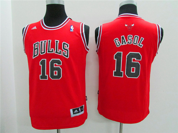 NBA Youth Chicago Bulls 16 Gasol red Game Nike Jerseys