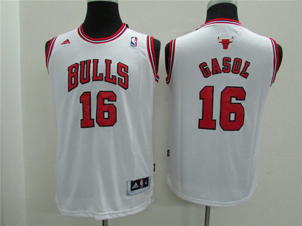 NBA Youth Chicago Bulls 16 Gasol white Game Nike Jerseys