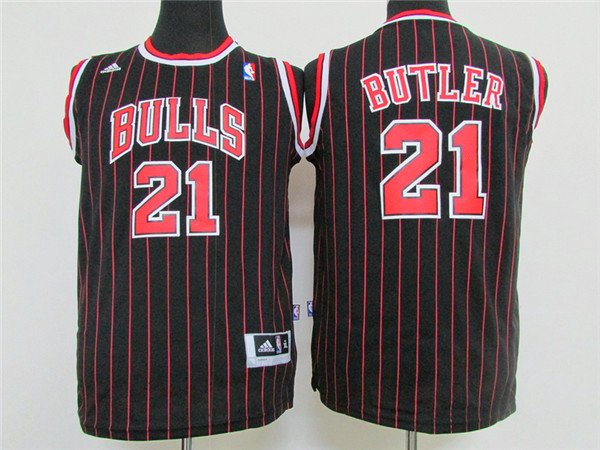 NBA Youth Chicago Bulls 21 Butler black Game Nike Jerseys