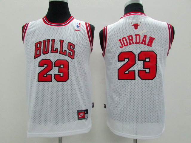 NBA Youth Chicago Bulls 23 Michael Jordan White Game Nike Jerseys