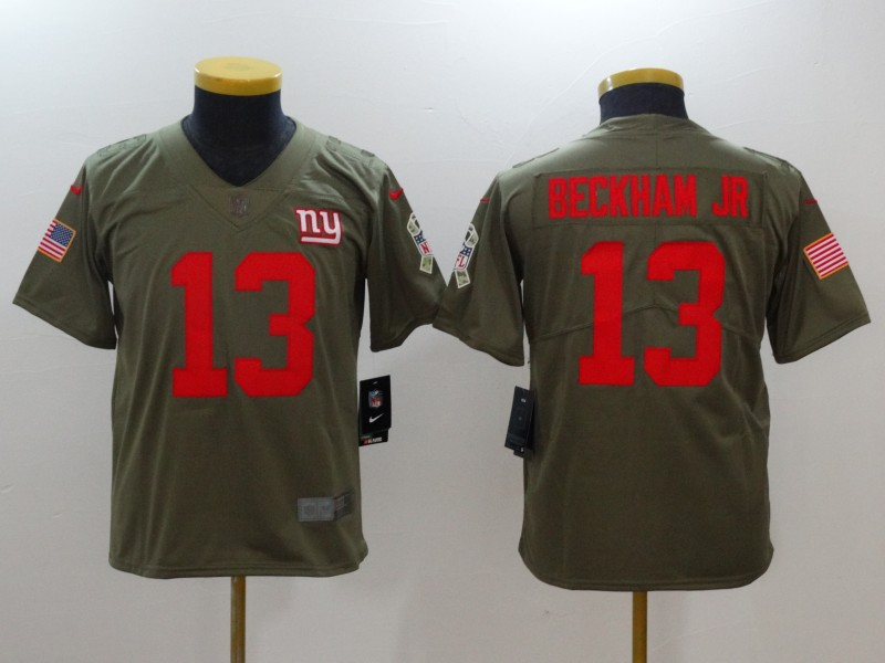 NFL Youth New York Giants 13 Beckham jr Nike Olive Salute To Service Limited Jerseys