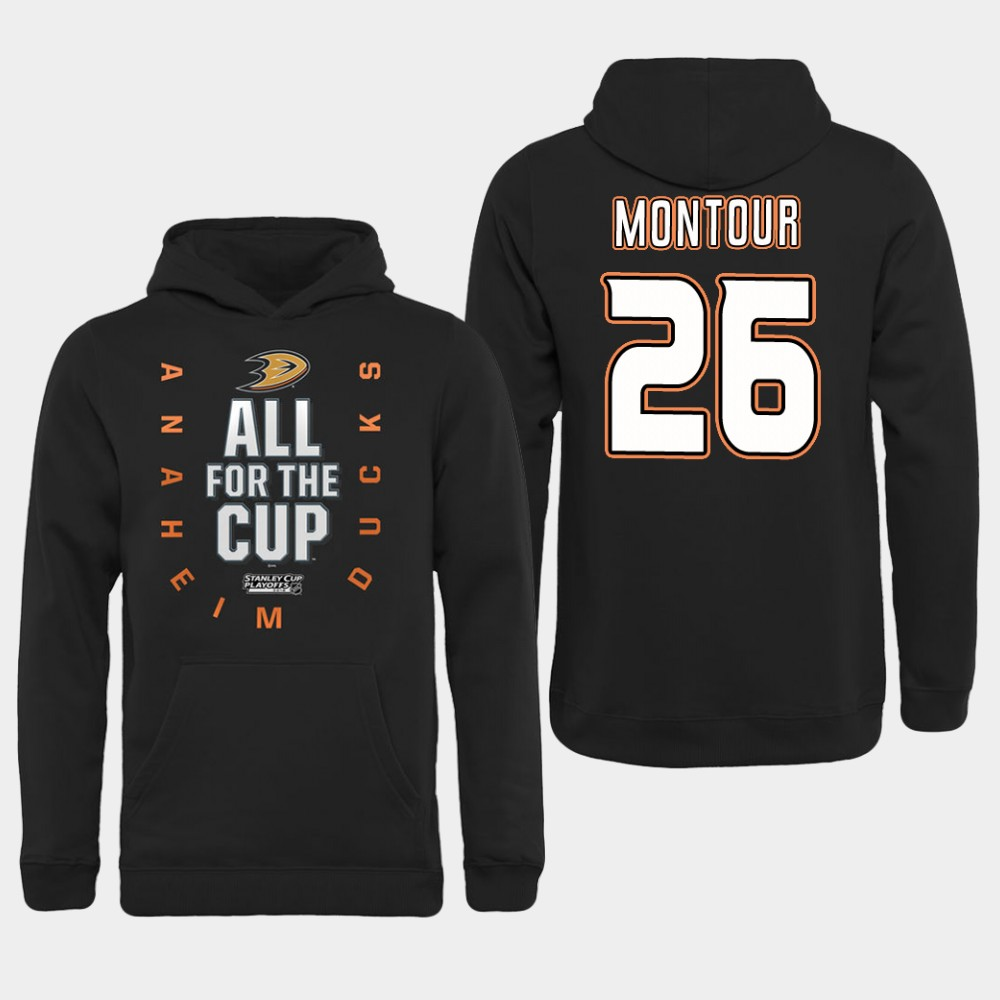 NHL Men Anaheim Ducks 26 Montour Black All for the Cup Hoodie